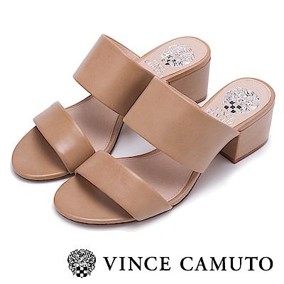 Vince Camuto 素色寬版百搭粗中跟涼鞋-棕色