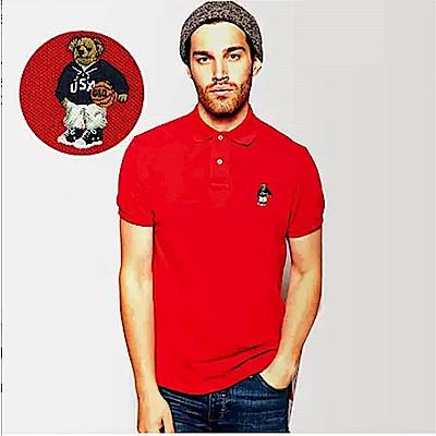Polo Rlaph Lauren 年度熱銷限定泰迪熊刺繡短袖Polo衫-紅色