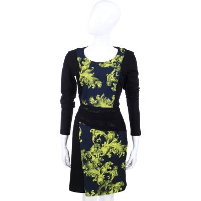VERSACE 黑綠色圖騰印花長袖洋裝