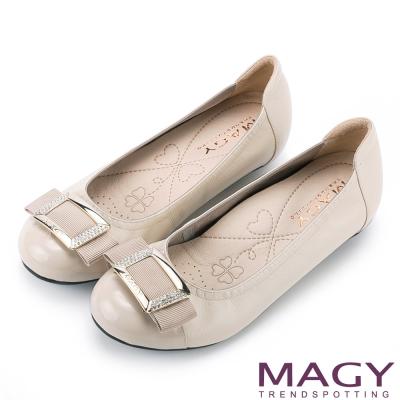 MAGY通勤百搭方釦鑽飾造型牛皮娃娃鞋米色