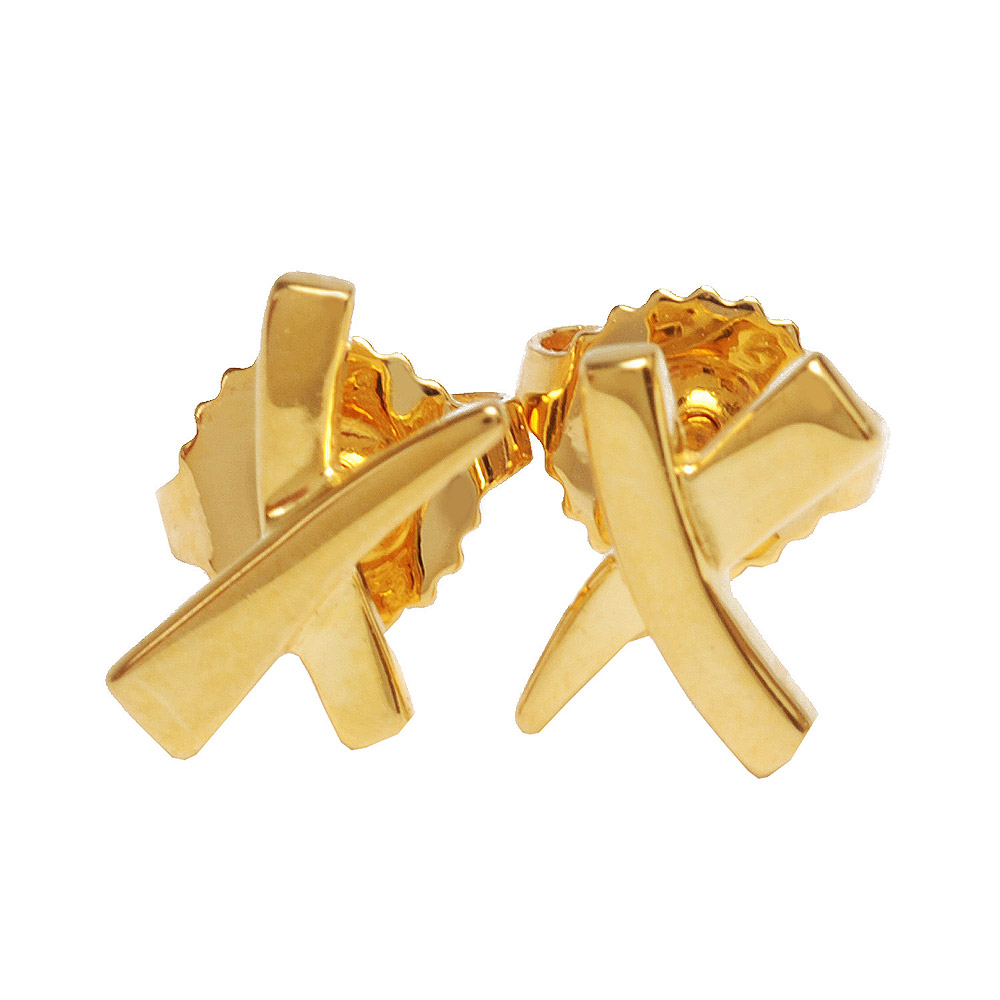 TIFFANY&Co. 經典750黃K金交叉樣式穿式耳環(金)