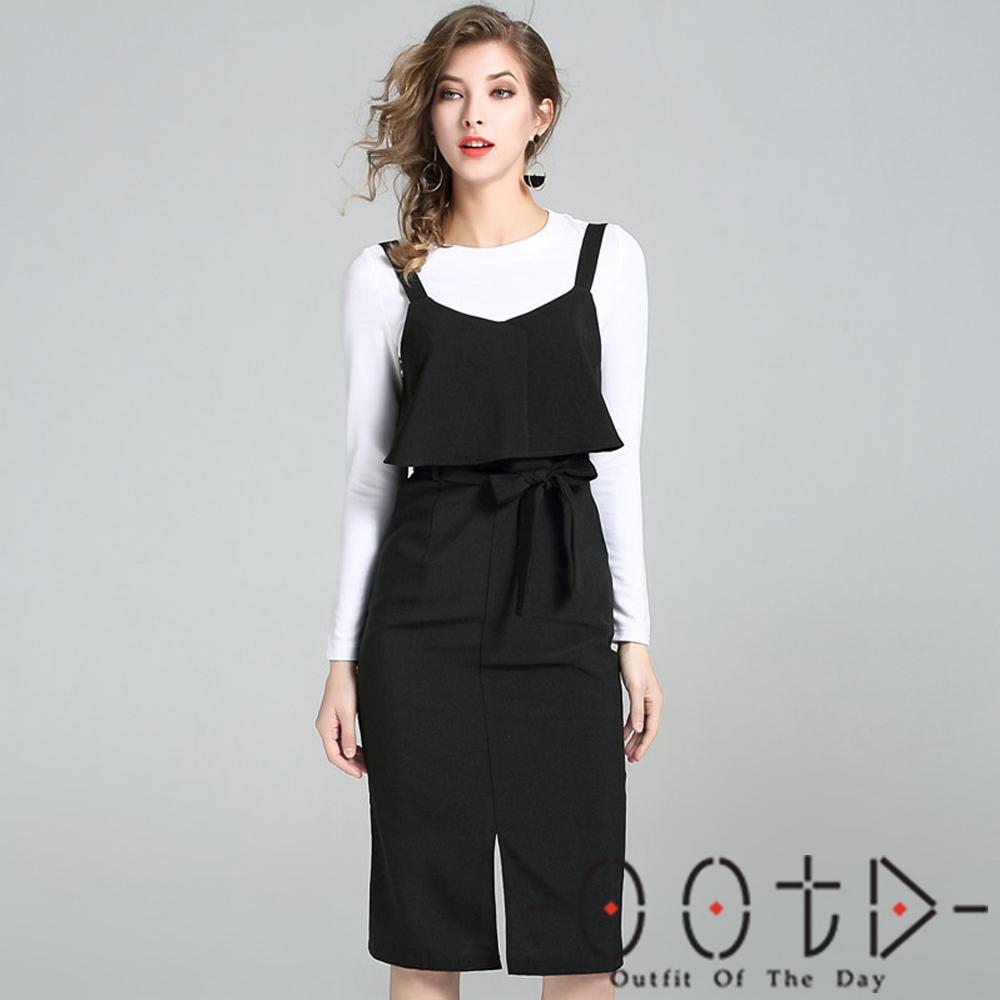 圓領長袖T恤+素面吊帶裙兩件套 (黑色)-OOTD