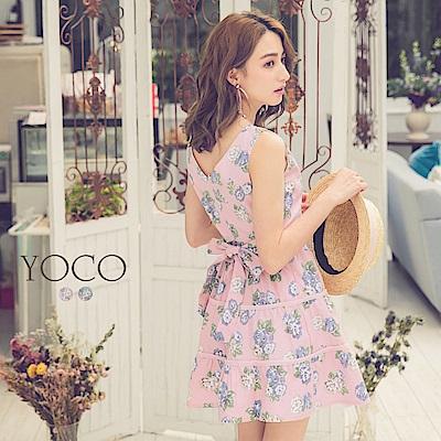 東京著衣-yoco 輕甜俏麗腰綁帶印花滾邊無袖洋裝-XS.S.M(共二色)