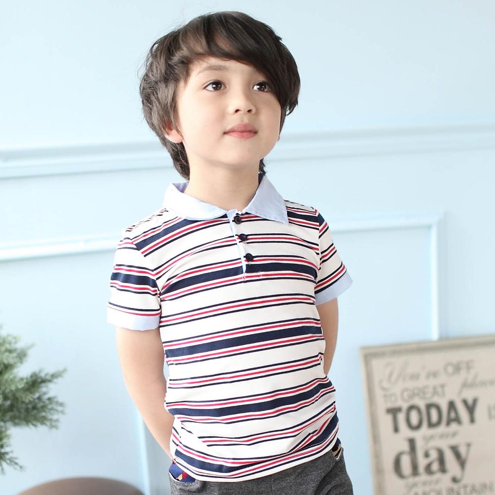 Azio Kids-上衣 POLO衫配色領袖條紋上衣(白)
