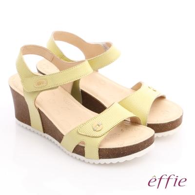 effie 嬉皮假期 真皮點點魔鬼氈楔型涼拖鞋 黃色