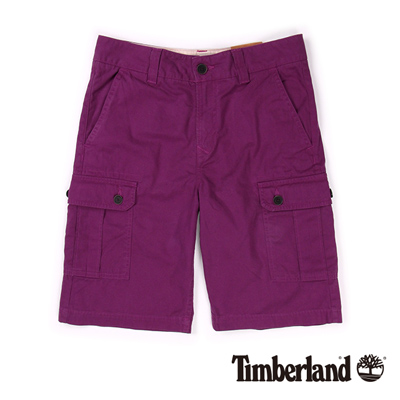 Timberland-男款紫色多口袋休閒短褲
