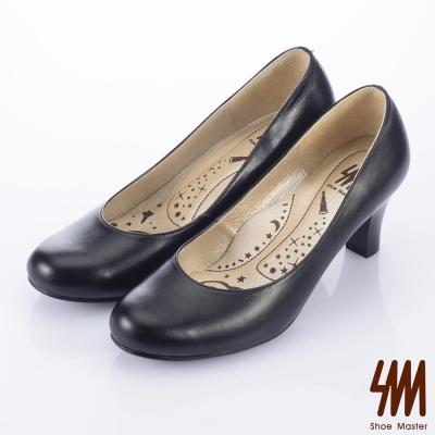 SM-臺灣製全真皮-厚軟鞋墊-素面圓頭中高跟鞋-黑色