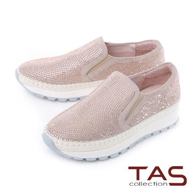 TAS 滿版水鑽麂皮麻邊運動休閒鞋-玫瑰粉