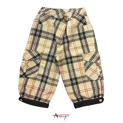 Anny英倫格紋金釦雙口袋造型長褲*1270卡其
