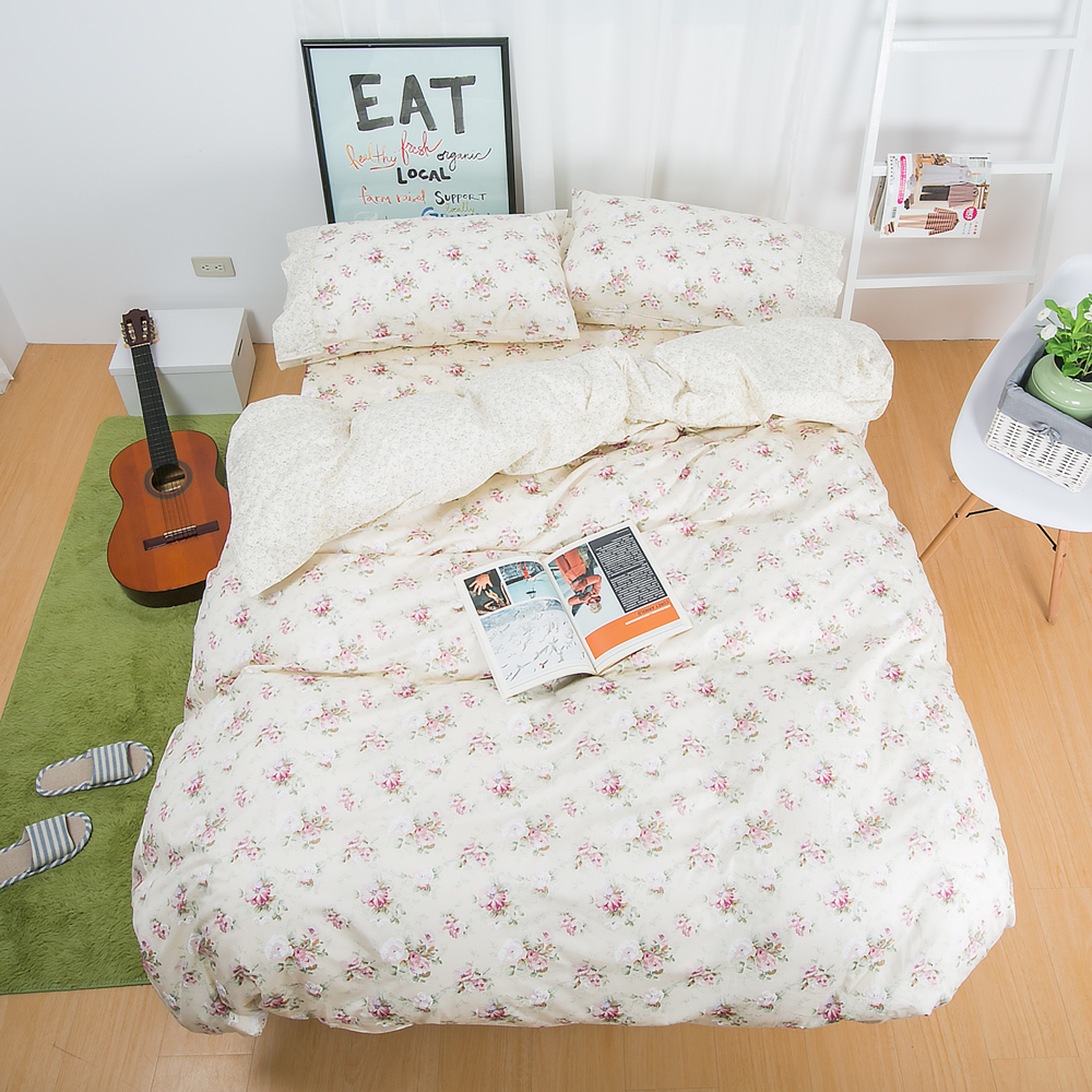 鴻宇HongYew 100%精梳棉 春漾庭園-黃 雙人加大四件式薄被套床包組