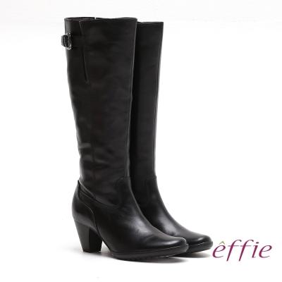 effie 都會風情 嚴選真皮幾何拼接中跟長靴 黑