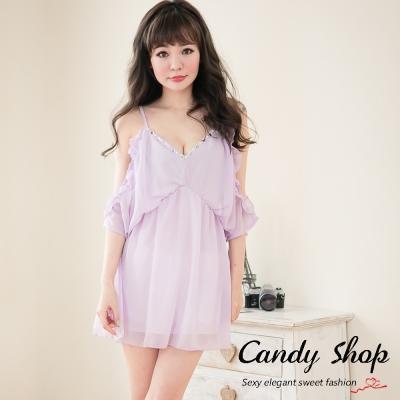 Candy小舖-春裝氣質甜美薄紗透膚V胸前滾珠設計洋裝-紫色