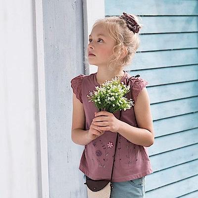 PIPPY 蕾絲抽皺小蓋袖 灰紫