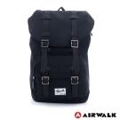 美國 AIRWALK韓版帆布雙扣蓋束口後背包(黑)