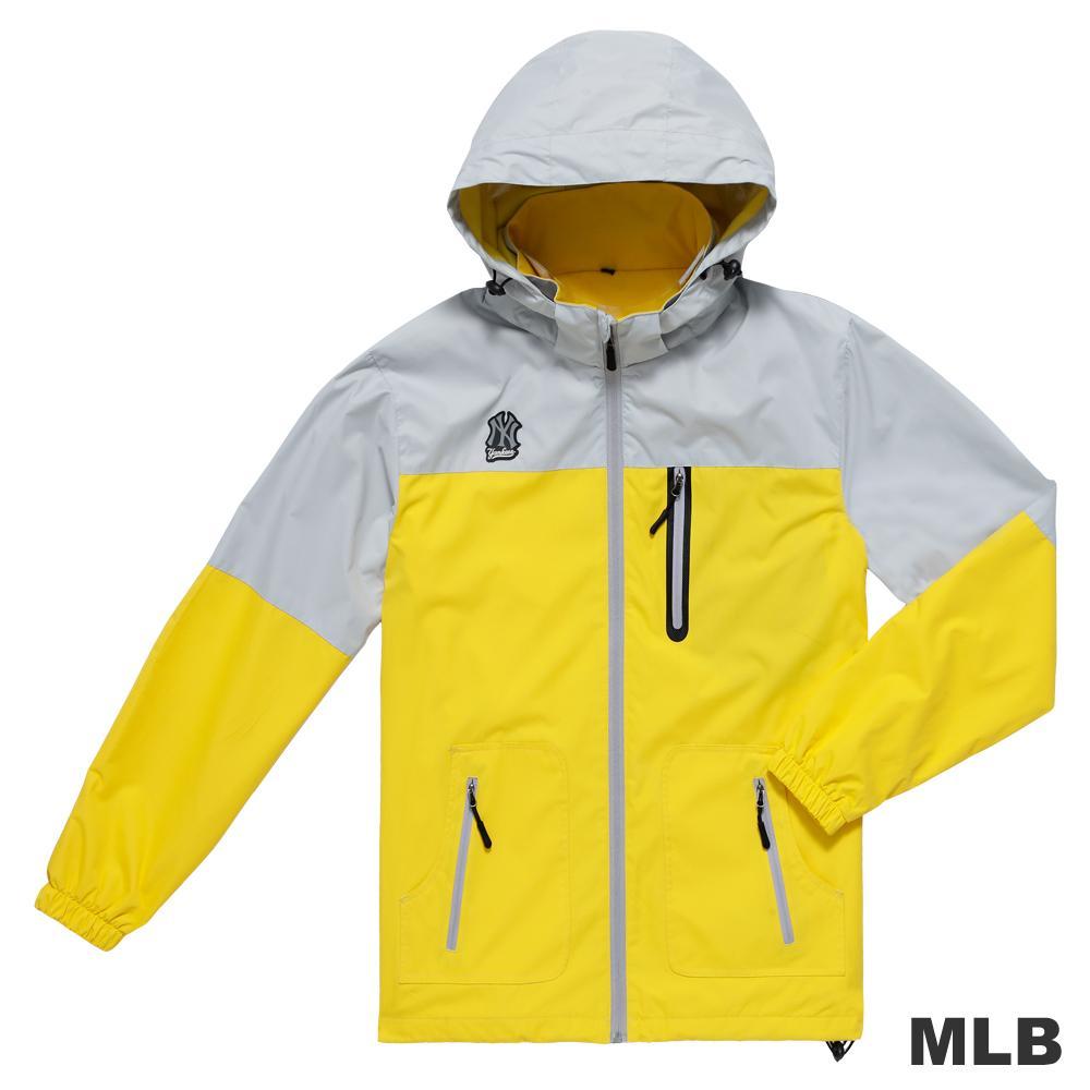 MLB-紐約洋基隊撞色造型可拆帽內刷毛風衣外套-淺黃色(男)