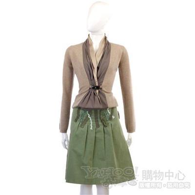 MOSCHINO 綠色抓皺及膝絨裙
