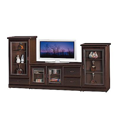 品家居 瑪夏7.9尺電視櫃組合(長櫃+展示櫃)-238x45x120cm免組
