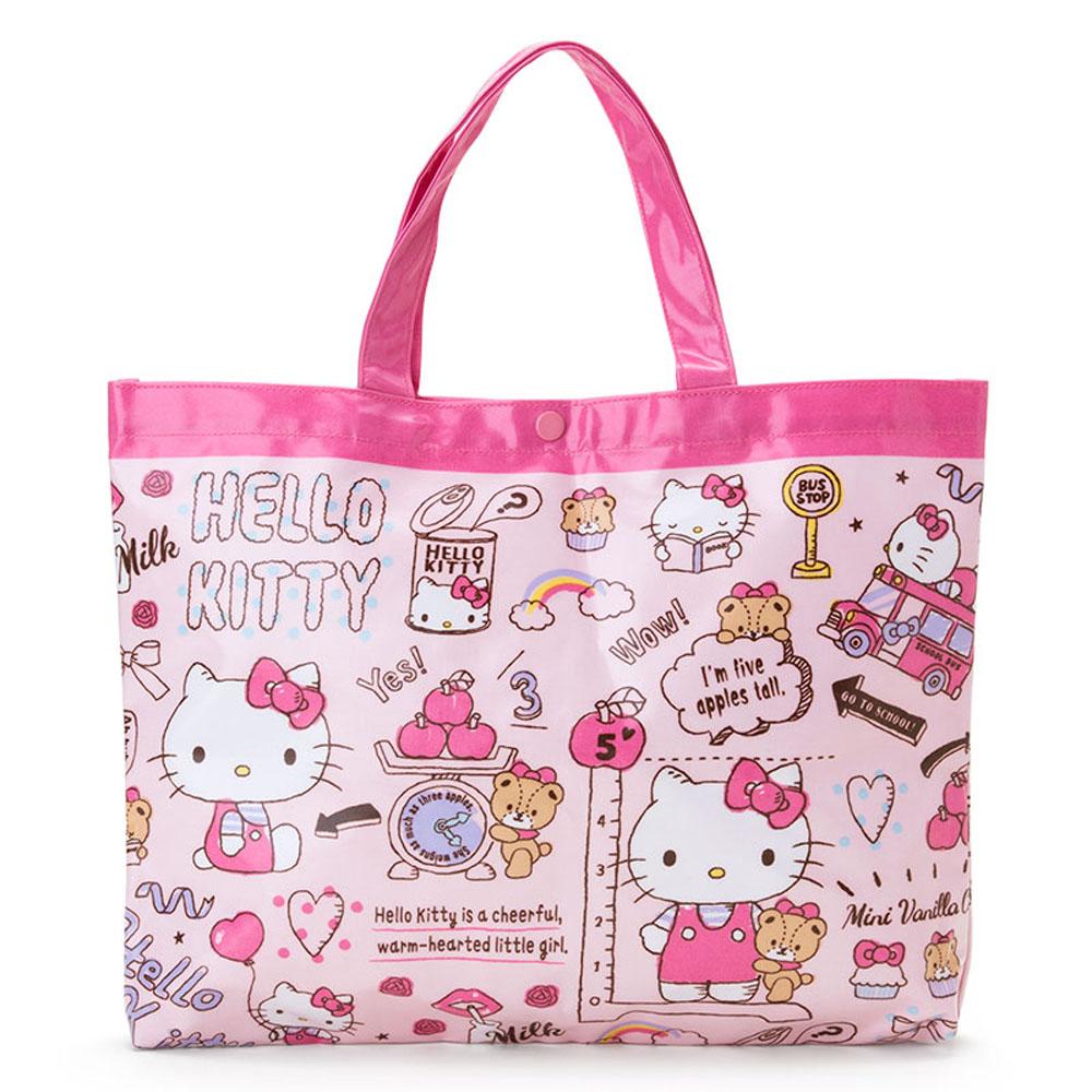 Sanrio HELLO KITTY輕量防潑水手提袋/補習提袋(學校生活)