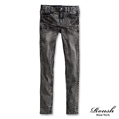 ROUSH 藍車線雪花刷痕黑色直筒單寧褲