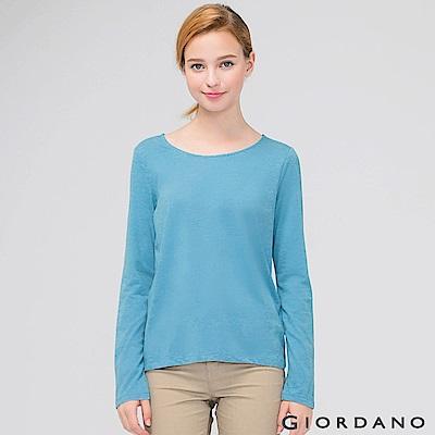 GIORDANO 女裝簡約素色棉質圓領長袖T恤 - 04 尼亞加拉河藍