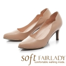 Fair Lady Soft芯太軟 優雅側V曲線尖頭高跟鞋 粉