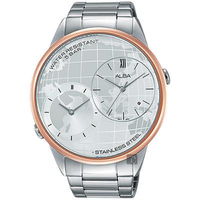 ALBA 街頭酷玩家二地時間限定腕錶(AZ9004X1)-銀x玫塊金框/45mm