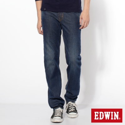 EDWIN-輕鬆俐落-基本五袋高腰中直筒牛仔褲-男-中古藍