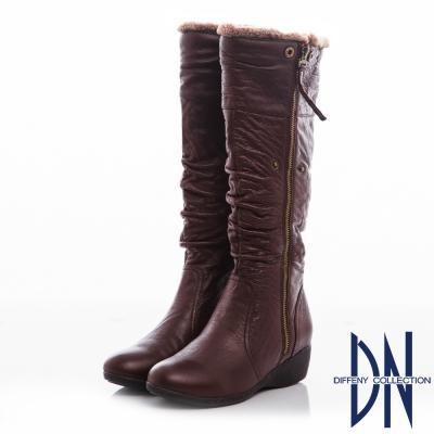 DN 經典時尚 人氣百搭質感皺褶牛皮長靴-咖