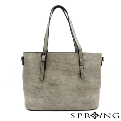 SPRING-大理石紋簡單生活托特包-灰