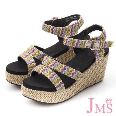 JMS-超舒適繽紛彩色編織帶厚底楔型涼鞋-黑色