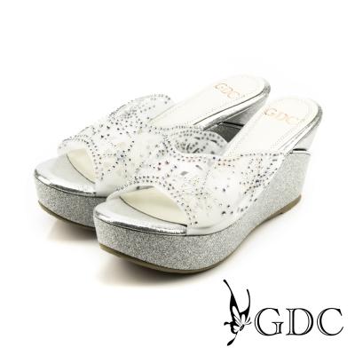GDC-水鑽幾何沖孔楔型涼拖鞋-銀色
