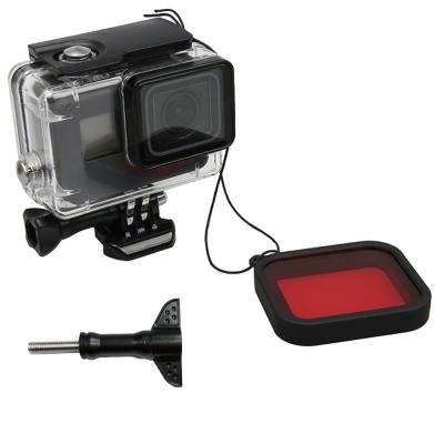 TELESIN GoPro Hero 6/5 專用40米防水殼(免拆鏡頭)+紅色濾鏡