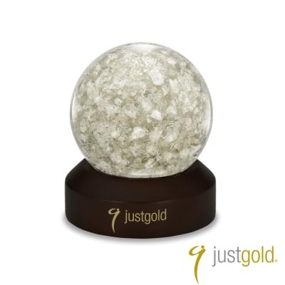 鎮金店Just-Gold-擺件-片片真心銀箔水晶球