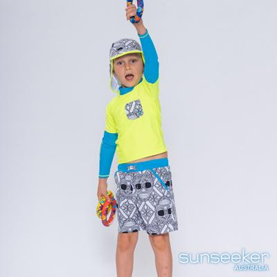 澳洲Sunseeker 泳裝抗UV防曬長袖泳衣+泳褲+防曬泳帽-小男童三件式(亮黃)