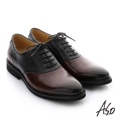 A.S.O 3D超動能 牛皮綁帶奈米紳士鞋 咖啡色