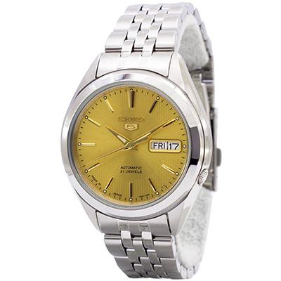 SEIKO 精工5號香檳金不鏽鋼男士手錶(SNKL21J1)-香檳金/38mm