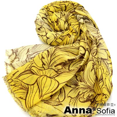 AnnaSofia-繪線羽葉-薄款純羊毛圍巾-鉻黃系