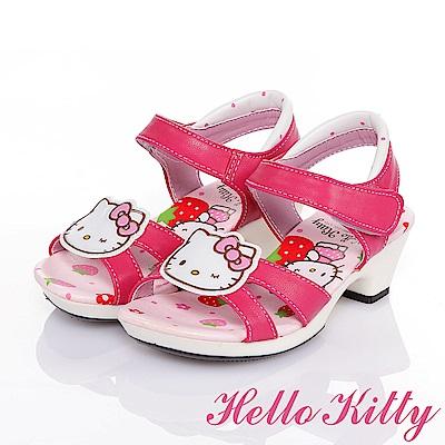 HelloKitty 草莓系列 輕量舒適休閒低跟公主涼鞋童鞋-桃