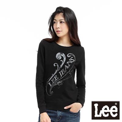 【Lee】蕨類植物圖騰印刷長袖圓領T恤-女款(黑)