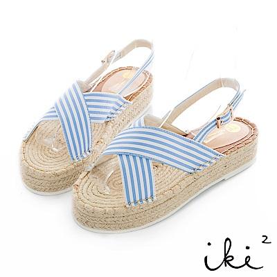 iki2 休閒布麻編織涼鞋-淺藍條紋