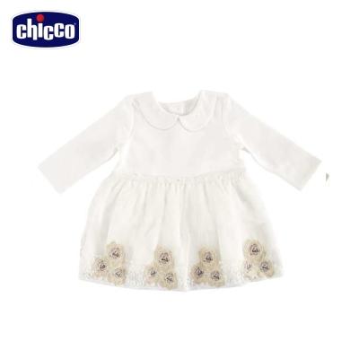 chicco玫瑰刺繡小圓領洋裝(12個月-18個月)