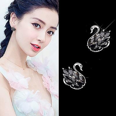 梨花HaNA 韓國925銀性感黑天鵝水晶耳環 (新款)
