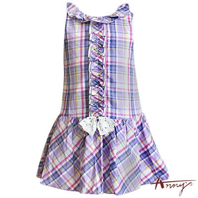 Annys清新活潑紫格紋立體荷葉排洋裝*5140紫