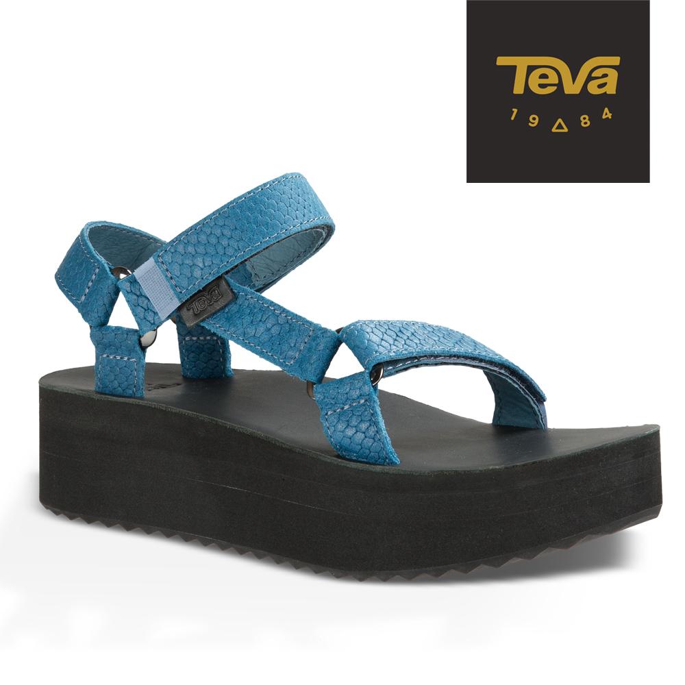 TEVA 美國-女 Flatform Universal 真皮厚底涼鞋 (蛇紋藍)