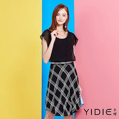 YIDIE衣蝶英倫風雅緻荷葉格紋洋裝