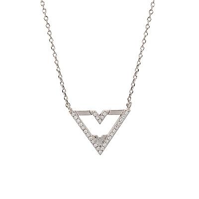 ASTRID&MIYU英國潮流品牌 倒三角V型水鑽項鍊 銀色
