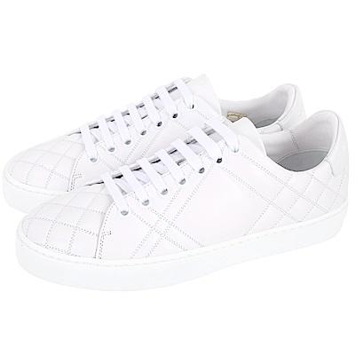 BURBERRY 格紋絎縫牛皮運動鞋(女鞋/白色)