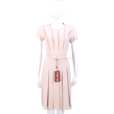 Max Mara 膚色蕾絲設計短袖洋裝(附腰帶)