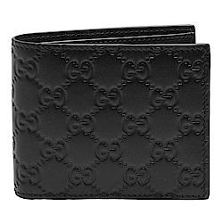 GUCCI 經典Guccissima GG壓紋牛皮三摺疊短夾(黑/12卡)