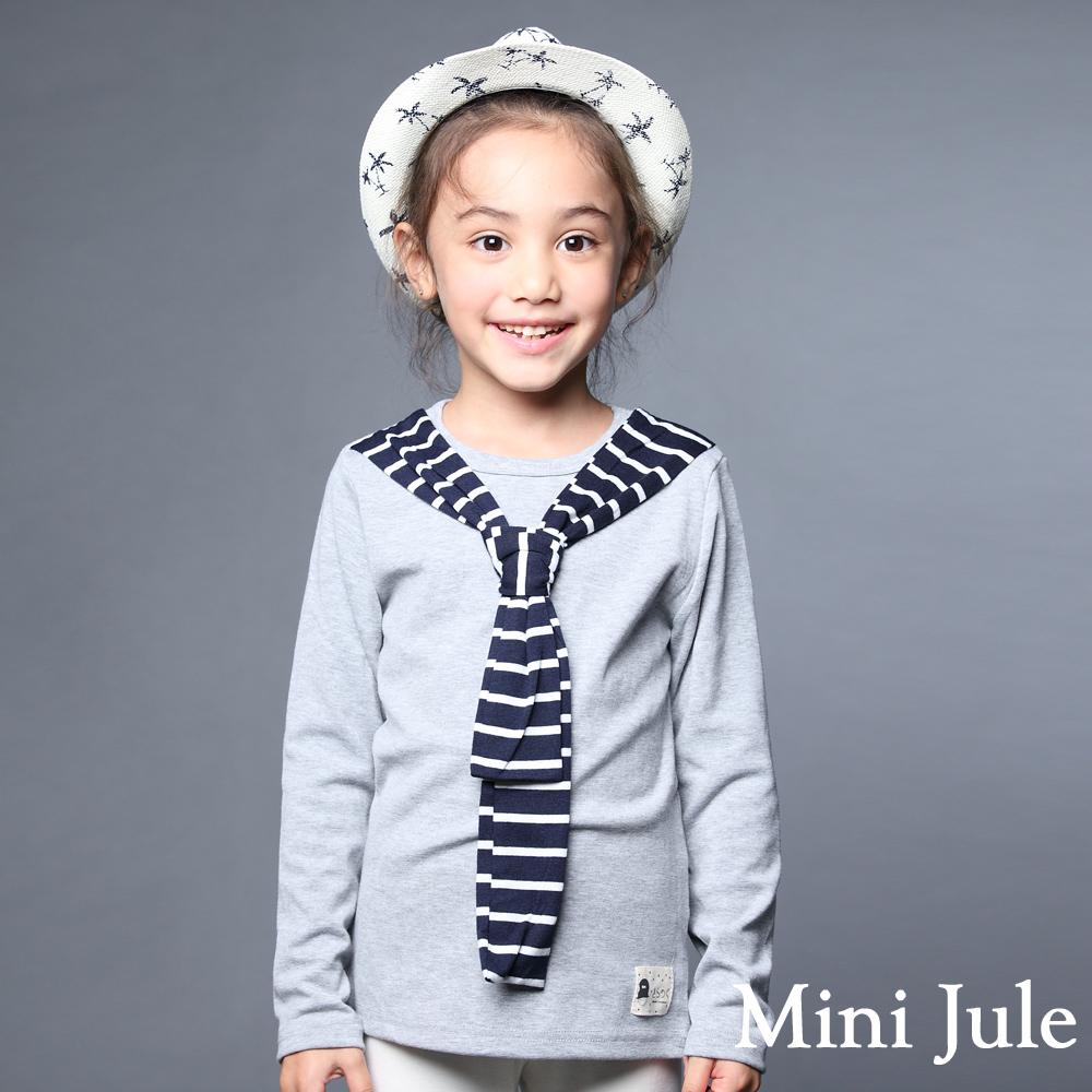 Mini Jule-上衣 條紋領巾圓領長棉T(灰)